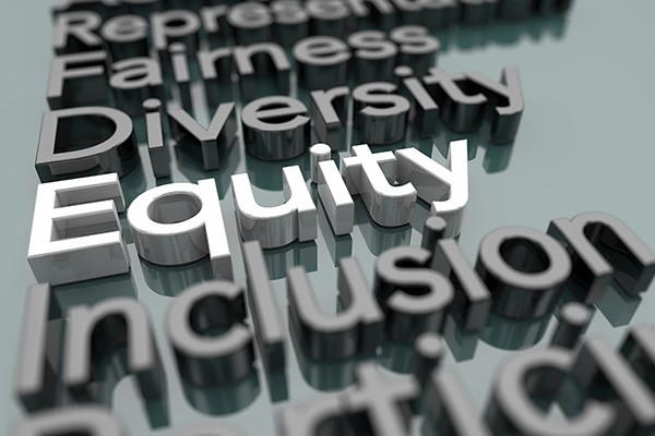 """3D words stand out on a grey background - """"Equity"""" is shown in white."""