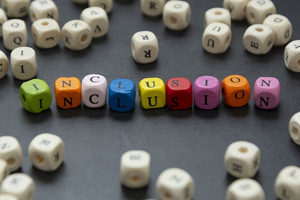 Coloured dice with letters spell out 'inclusion'.