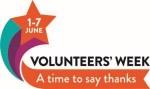 Logo, orange star and orange banner, reads 1-7 June, Volunteers' Week, A time to say thanks.